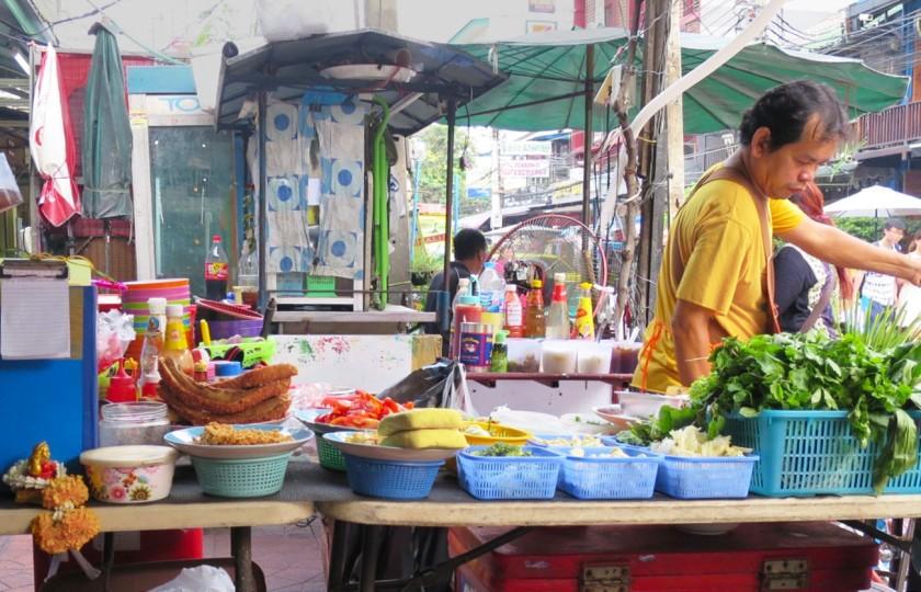 A Thai street food vendor near Khao San Road/Rambruttri Road